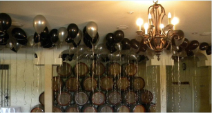 Balloons against ceiling