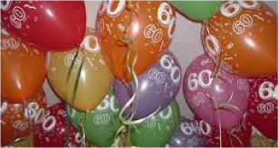 A collection of balloons with the number 60 printed on them